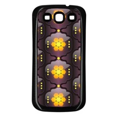 Pattern Background Yellow Bright Samsung Galaxy S3 Back Case (Black)