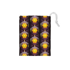 Pattern Background Yellow Bright Drawstring Pouches (Small)