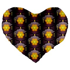 Pattern Background Yellow Bright Large 19  Premium Flano Heart Shape Cushions