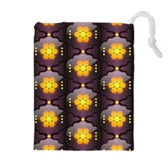 Pattern Background Yellow Bright Drawstring Pouches (Extra Large)