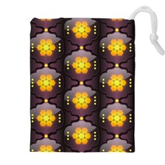 Pattern Background Yellow Bright Drawstring Pouches (XXL)