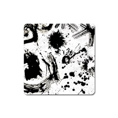 Pattern Color Painting Dab Black Square Magnet