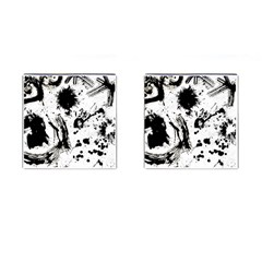 Pattern Color Painting Dab Black Cufflinks (square)
