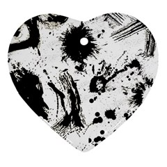 Pattern Color Painting Dab Black Heart Ornament (two Sides)