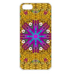 Golden Retro Medival Festive Fantasy Nature Apple Iphone 5 Seamless Case (white) by pepitasart