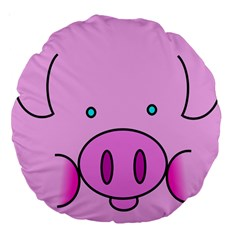 Pink Pig Christmas Xmas Stuffed Animal Large 18  Premium Round Cushions by Sapixe