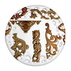 Pattern Motif Decor Round Filigree Ornament (two Sides) by Sapixe