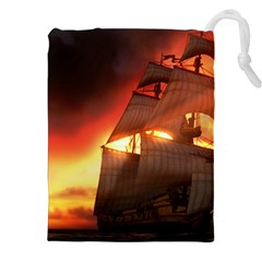 Pirate Ship Caribbean Drawstring Pouches (xxl)