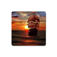 Pirate Ship Square Magnet