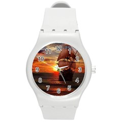 Pirate Ship Round Plastic Sport Watch (m) by Sapixe