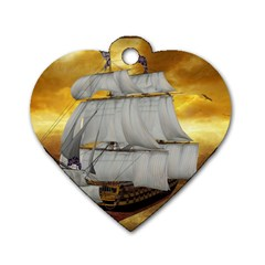 Pirate Ship Dog Tag Heart (one Side)