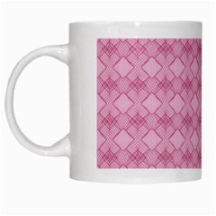 Pattern Pink Grid Pattern White Mugs
