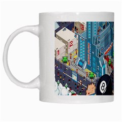 Pixel Art City White Mugs