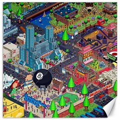 Pixel Art City Canvas 12  X 12   by Sapixe