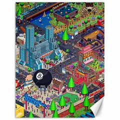 Pixel Art City Canvas 12  X 16   by Sapixe