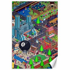 Pixel Art City Canvas 20  X 30   by Sapixe