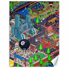 Pixel Art City Canvas 36  X 48   by Sapixe