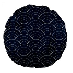 Japan Sashiko Navy Ornament Large 18  Premium Round Cushions by goljakoff