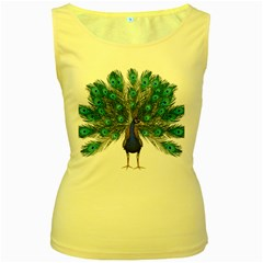 Peacock Bird Peacock Feathers Women s Yellow Tank Top by Sapixe