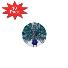 Peacock Bird Peacock Feathers 1  Mini Buttons (10 Pack)