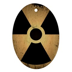 Radioactive Warning Signs Hazard Oval Ornament (two Sides)