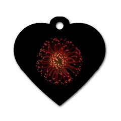 Red Flower Blooming In The Dark Dog Tag Heart (two Sides) by Sapixe