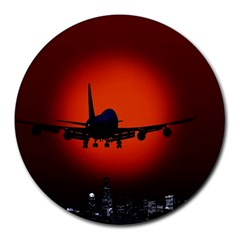 Red Sun Jet Flying Over The City Art Round Mousepads by Sapixe