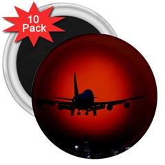 Red Sun Jet Flying Over The City Art 3  Magnets (10 Pack)  by Sapixe