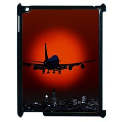 Red Sun Jet Flying Over The City Art Apple Ipad 2 Case (black) by Sapixe