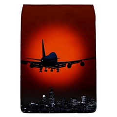 Red Sun Jet Flying Over The City Art Flap Covers (l)  by Sapixe