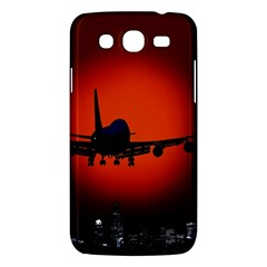 Red Sun Jet Flying Over The City Art Samsung Galaxy Mega 5 8 I9152 Hardshell Case  by Sapixe