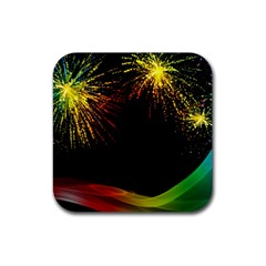 Rainbow Fireworks Celebration Colorful Abstract Rubber Coaster (square)  by Sapixe