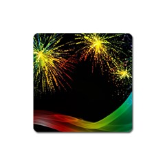 Rainbow Fireworks Celebration Colorful Abstract Square Magnet