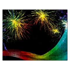 Rainbow Fireworks Celebration Colorful Abstract Rectangular Jigsaw Puzzl by Sapixe