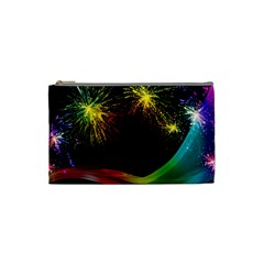 Rainbow Fireworks Celebration Colorful Abstract Cosmetic Bag (small)  by Sapixe