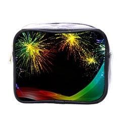 Rainbow Fireworks Celebration Colorful Abstract Mini Toiletries Bags by Sapixe