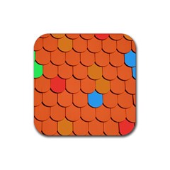 Roof Brick Colorful Red Roofing Rubber Coaster (square)