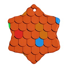 Roof Brick Colorful Red Roofing Snowflake Ornament (two Sides) by Sapixe