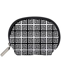 Seamless Pattern Background Black And White Accessory Pouches (small)  by Sapixe