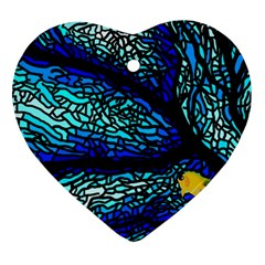 Sea Fans Diving Coral Stained Glass Heart Ornament (two Sides)