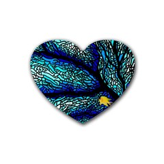 Sea Fans Diving Coral Stained Glass Heart Coaster (4 Pack)