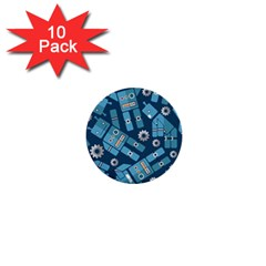 Seamless Pattern Robot 1  Mini Buttons (10 Pack)