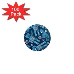 Seamless Pattern Robot 1  Mini Magnets (100 Pack)