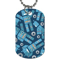 Seamless Pattern Robot Dog Tag (two Sides)