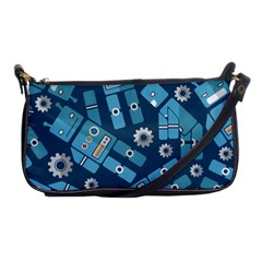 Seamless Pattern Robot Shoulder Clutch Bags