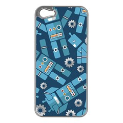 Seamless Pattern Robot Apple Iphone 5 Case (silver)