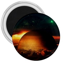 Saturn Rings Fantasy Art Digital 3  Magnets by Sapixe