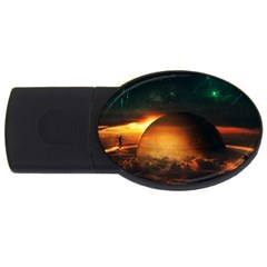 Saturn Rings Fantasy Art Digital Usb Flash Drive Oval (4 Gb)