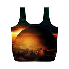 Saturn Rings Fantasy Art Digital Full Print Recycle Bags (m)  by Sapixe