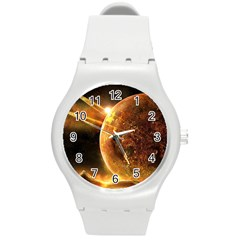 Sci Fi Planet Round Plastic Sport Watch (m) by Sapixe